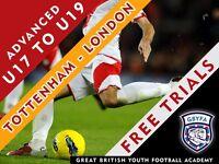 U17, U18 and U19 Free Trials for Advanced Football Development Group - Tottenham GBYFA