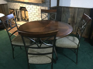 NEW WOOD WROUGHT IRON DINING ROOM TABLE N CHAIRS