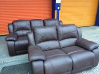 Harvey's club leather reclining 3+2 seater sofa set ex display model