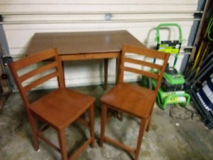 Wooden two chair high pub table with flip up ends