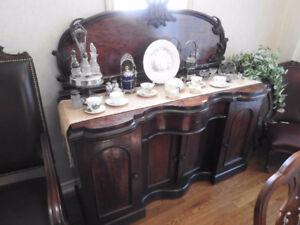 Outstanding Victorian Burled Walnut 1850 Antique Sideboard