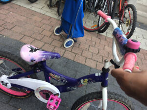 Tinker bell girls bike with Dora helmet and pouch