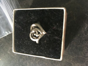 Silver mother child ring