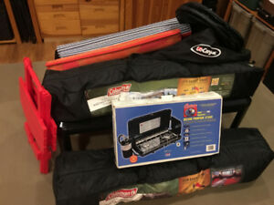 Camping cottage camp gear, tent, stove, bbq, potty, pots, MORE!