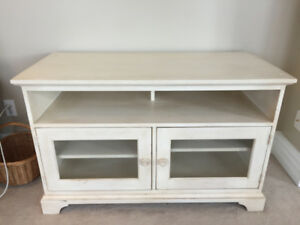 Ethan Allen Solid Wood Media Cabinet (Antique White)