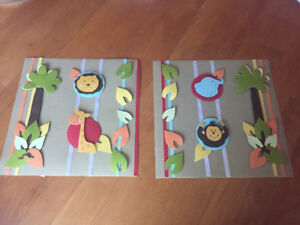 2 homemade jungle themed pictures