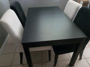 Dining table set 4 chairs expands to 8 seats