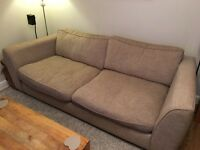 Three seater and two seater neutral sofas with wooden feet