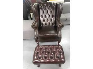 Leather Sherwood Wing Chair and Footstool in brown Condell Park Bankstown Area Preview