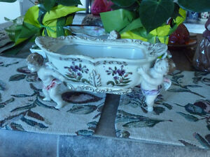 Beautiful Antique Dresden Porcelain Bowl Supported By Cherubs