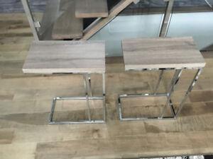 2 Tables d'appoint - Taupe foncé et chrome