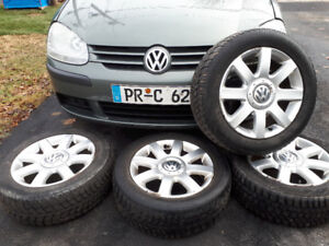 "16"" VW alloy rims 5x112 pattern 205 55 16 winter tires MK5"