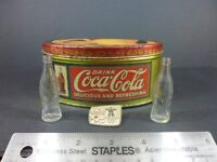 Coca Cola Miniature Bottles, Tin and Lapel Pin.