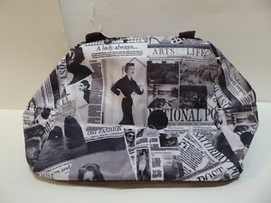 DESIGNER PURSE WITH B&W 'FASHION AD'S THEME - NEVER USED/MINT