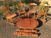 Pine extendable table & 4 chairs