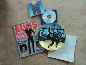 Elvis photo magazine, CD and Collector plate.
