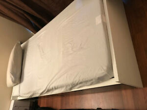 White Ikea storage Twin bed and mattress