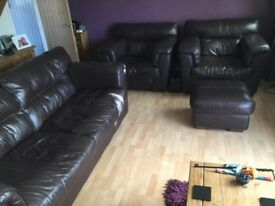 Large Brown 3 seater Leather Sofa, 2 Chairs and Footstool