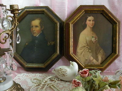 Lot of 2 Pair VTG Victorian Picture Portraits Lady & Gentleman in Wooden Frames