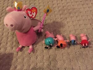 Peppy pig stuffie and figurine set