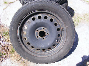 4 steel rims and winter tires