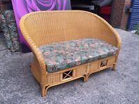 Cane wicker 2 Seater Sofa with Cushion Summer Garden Sofa