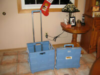 2 Rolling Collapsible PlasticTotes With Retractable Handles