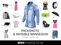Professional Commercial Studio/Photographer Hire Product/Clothing/Invisible Mannequin Fashion LONDON