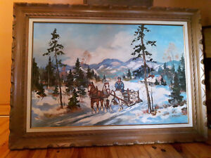 "Walter Pranke Horse and Sleigh 24x36"" in Carved Frame"