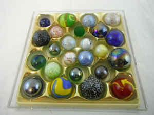 24 Assorted Sized Shooter Marbles from 1980-today, mint to very