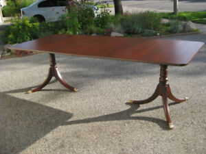 Refinished Duncan Phyfe Mahogany Dining Table.Shield Back Chairs