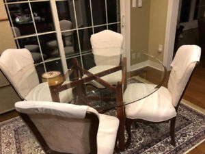 White Bombay Dining Chairs + Dining table