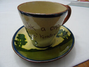 ANTIQUE TORQUAY WARE CUP & SAUCER