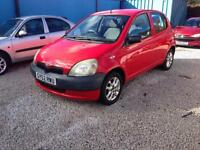 2002/52 Toyota Yaris 1.0 16v VVTi GS met red 5 DOOR 97k 1 YEAR MOT