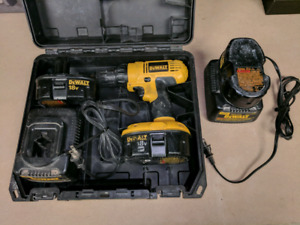 DeWalt Drill with 3 18V batteries, 2 chargers, and case