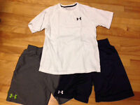 Boys large under armour shorts and shirt