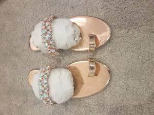 Rose Gold Toe Loop Gem  Flats