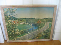 CHARMING OLD VINTAGE FRAMED COUNTRY FARM-SETTING PRINT