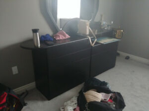 Armoir and dresser black, mirror included