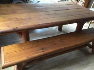 Handmade Solid table with 2 benches