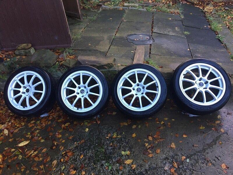 "17"" Rota Alloys 5x114.3 Subaru Impreza 5-6mm Tyres Excellent condition"