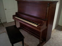 Crown Upright 4 pedal Piano by George P Bent complete with bench