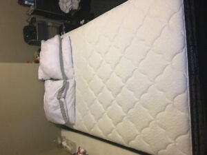 Double bed, with box spring and bed frame