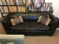 Free leather sofa bed (chocolate brown)