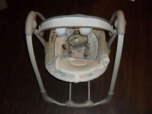 Ingenuity baby swing operates on electric and battery save$$$