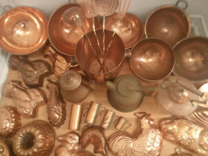 Extensive Copper Collection Whistling pot, Jelly mould