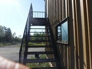 Out door Steel stairs 13 plus landing with guard rail