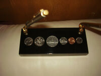Pen and Pencil Holder Coins Lucite , Clock Vintage Various