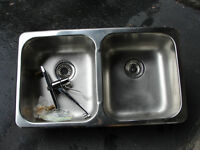 STAINLESS DOUBLE KITCHEN SINK AND MOEN FAUCET