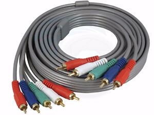 HDTV Video Audio 5RCA Component 5 RCA AV Gold Plated Cable 10FT